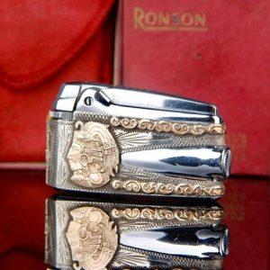 Ronson vỏ bạc , logo vàng 10K